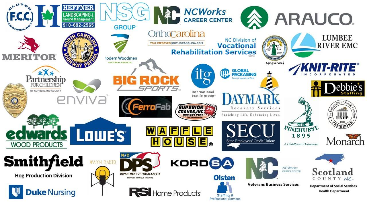 Logos of different businesses and agencies that will be attending the Career & Business Expo