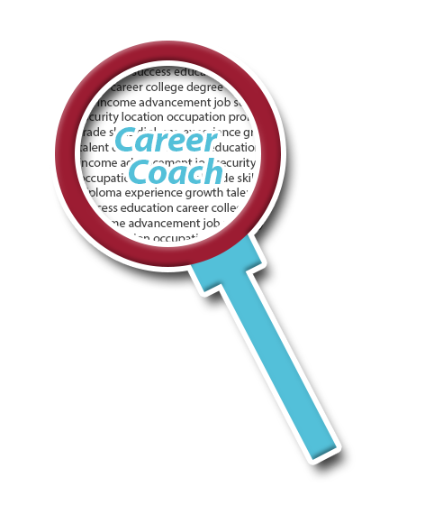 Blue and red magnifying glass magnifying career related words. Name of icon is Career Coach.