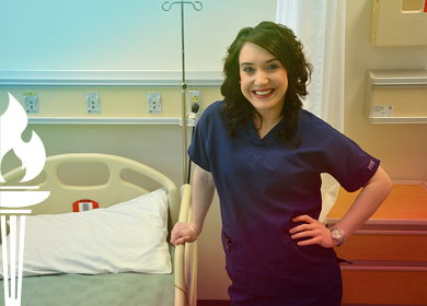 RCC Student Courtney Hogan standing in nursing lab