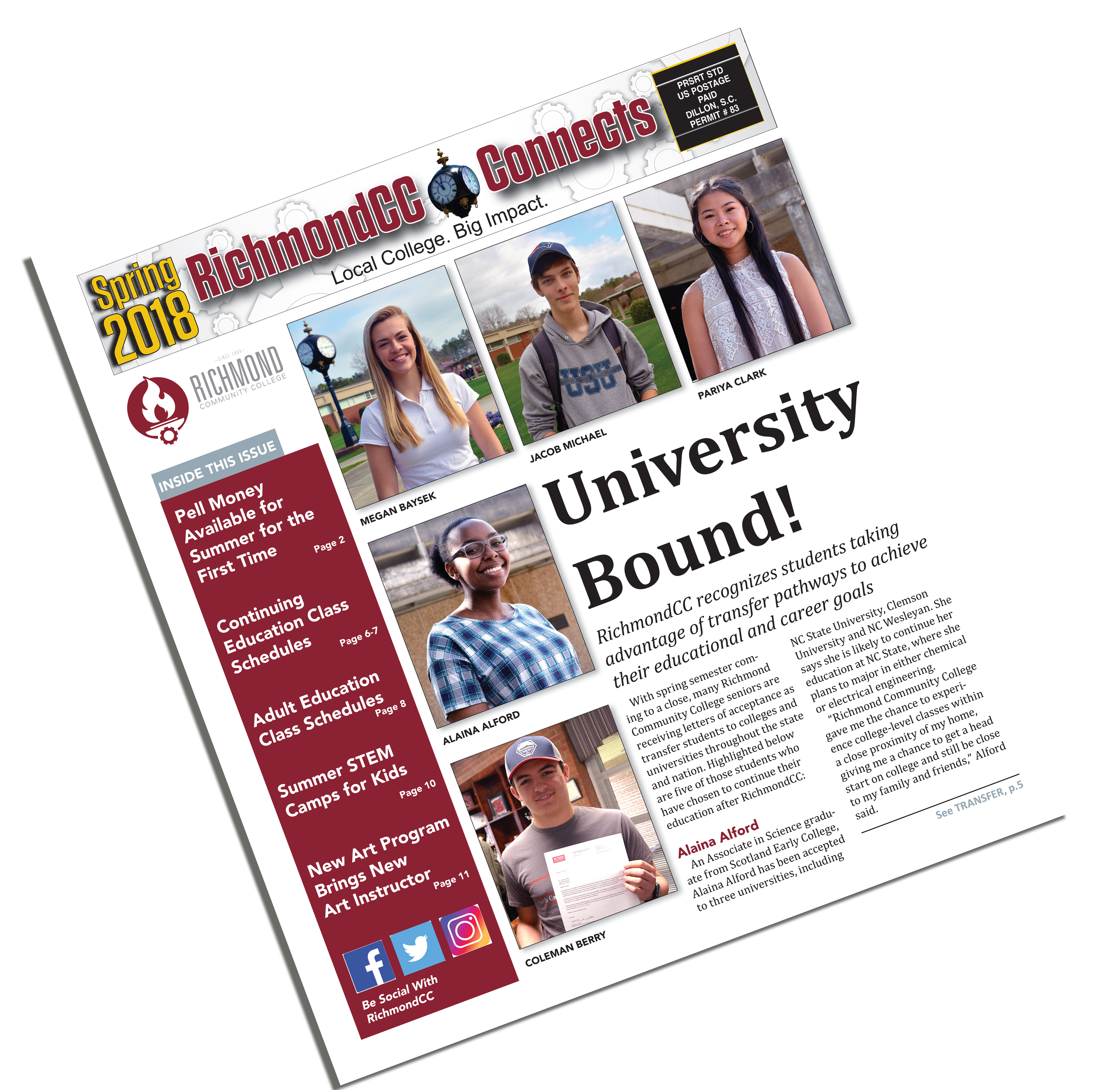 Photo of the front page of the newspaper RichmondCC Connects
