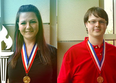 Christi Miles and George Yancey shown for winning Academic Excellence Awards
