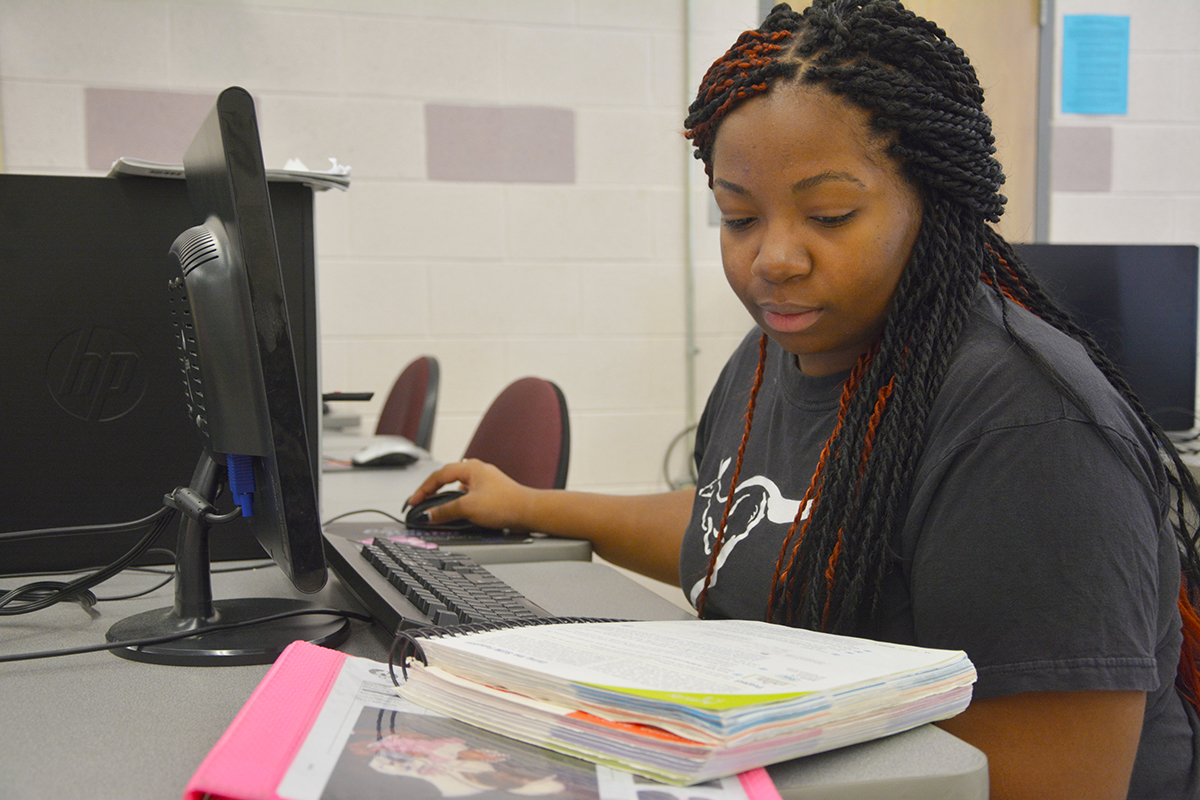 A Richmond Community College student looks over the lesson in an Information Technology class. The college is offering more online courses and programs in 2017 when the spring semester starts on Jan. 6. Final registration for new students will be held Jan. 3-5.