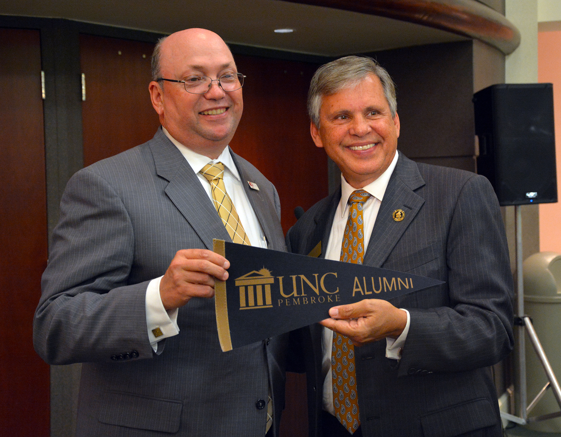 Pictured are Dr. Dale McInnis, president of Richmond Community College, and University of North Carolina at Pembroke Chancellor Robin Gary Cummings during a drop-in for Cummings when he was installed as the new chancellor. RichmondCC and UNCP have created a new teacher education program for a Bachelor of Science in Elementary Education