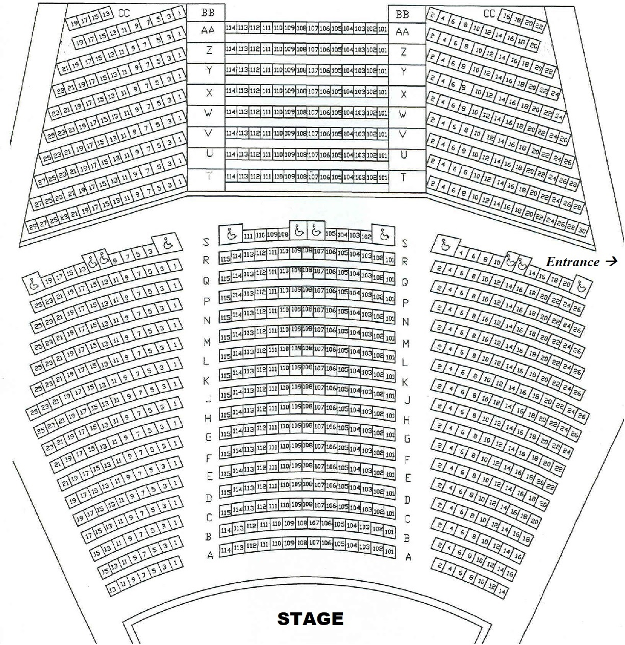 Seating Chart for Cole Auditorium