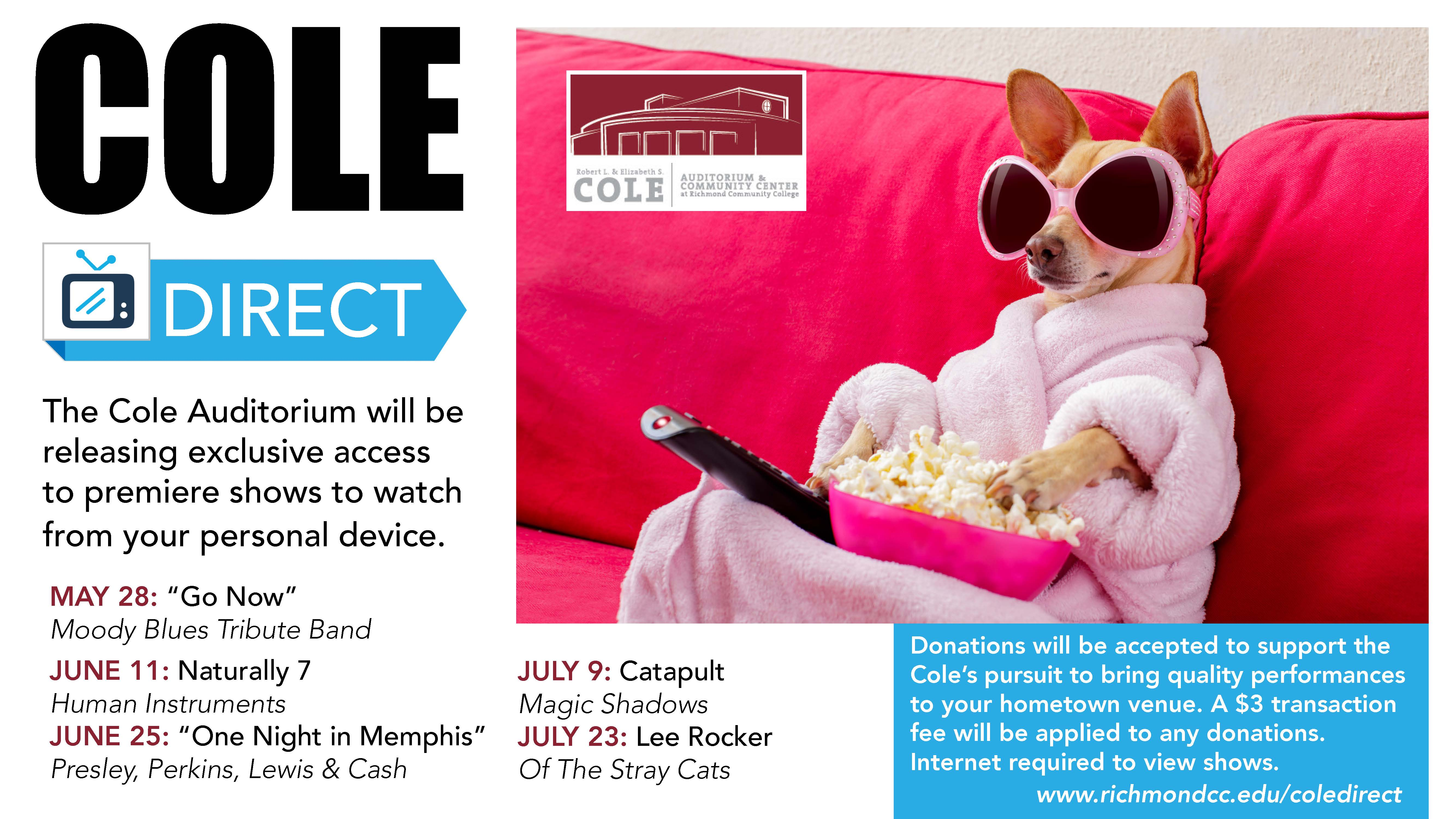 Cole Direct logo and show schedule with dog in pink robe with a TV remote and bowl of popcorn