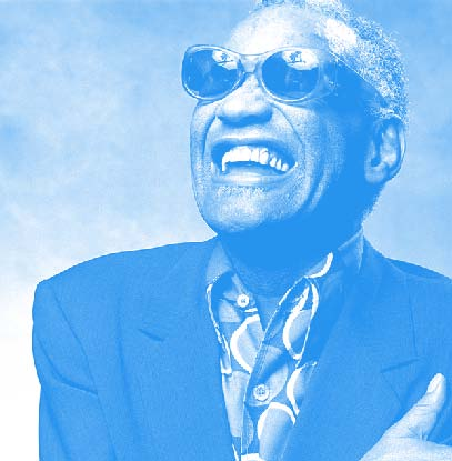 Photo of Ray Charles with blue tint