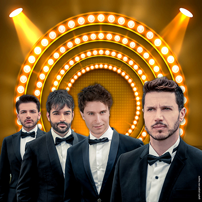 Four guys in a tuxedo with spotlight graphic in the background