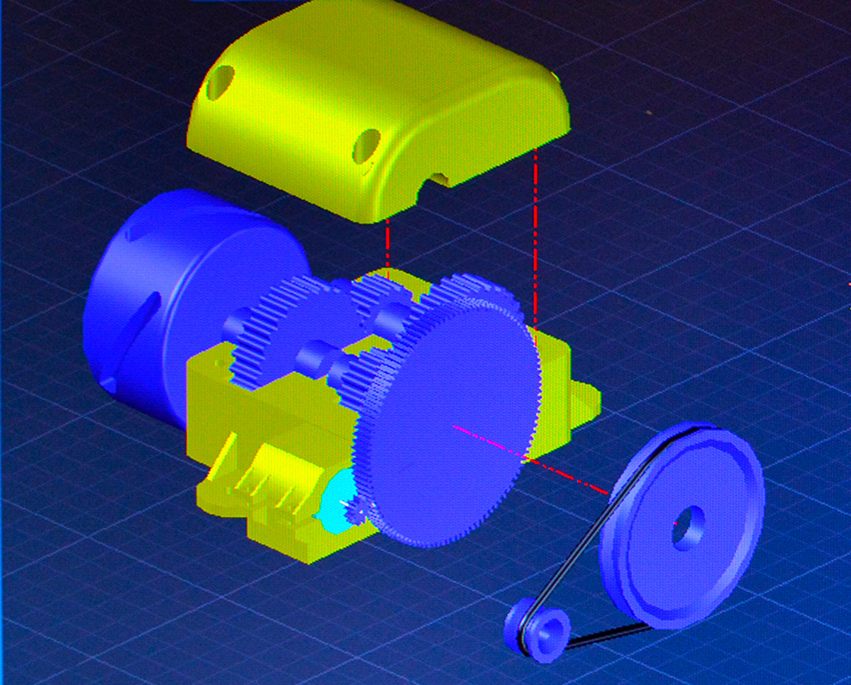A CAD drawing of a gear that is purple and yellow