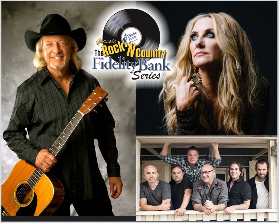 Fidelity Bank series logo with a photo collage of John Anderson, Lee Ann Womack and Sister Hazel