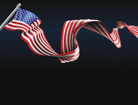 Image of the American flag on a black background