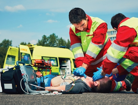 first responders assisting a hurt person