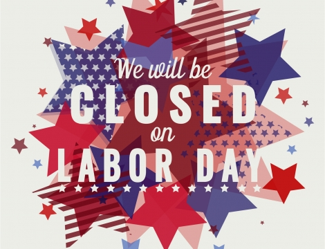 "Image of red, white and blue stars with the words ""We will be closed for Labor Day"""