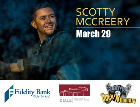 """Photo of a young man on left with """"Scotty McCreery March 29"""" on right side."""