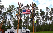 Lineman working on electrical poles