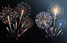 Photo of fireworks in a black sky