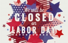 """Image of red, white and blue stars with the words """"We will be closed for Labor Day"""""""