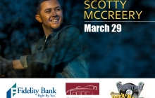 "Photo of a young man on left with ""Scotty McCreery March 29"" on right side."
