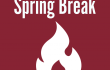 "The words ""Spring Break"" with white flame icon"