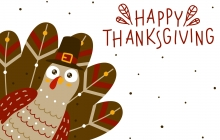 """Image of a turkey and """"Happy Thanksgiving"""""""